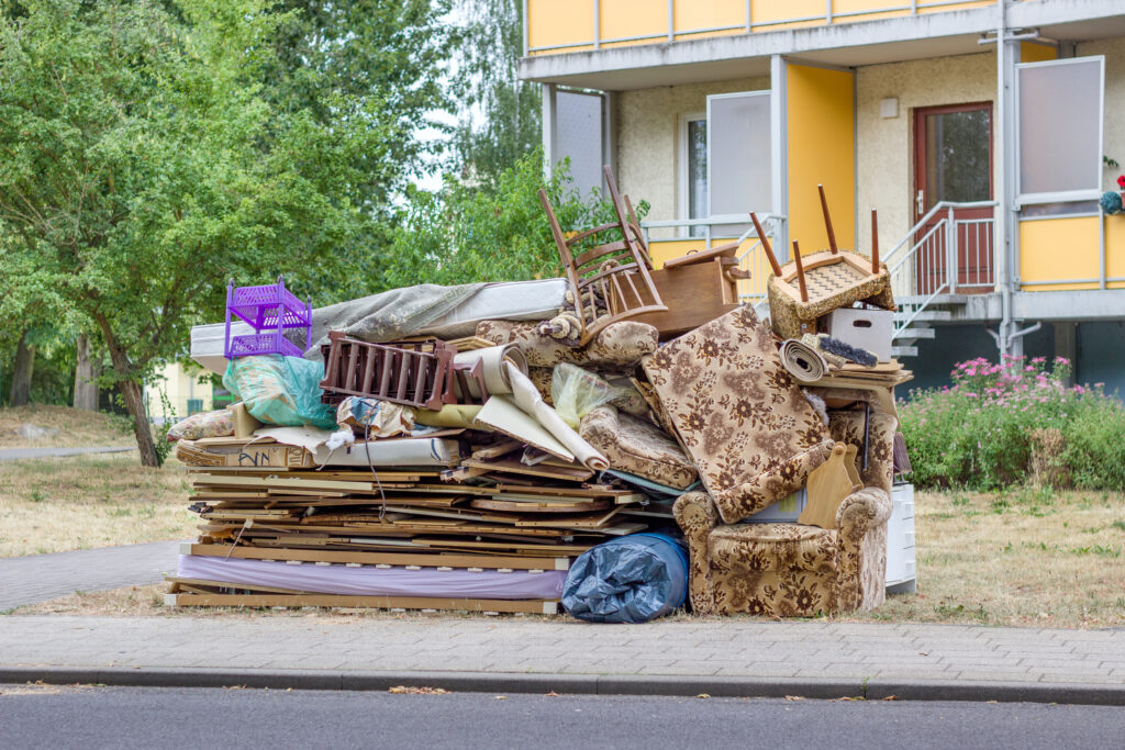 Large Junk Pile Neatly Stacked